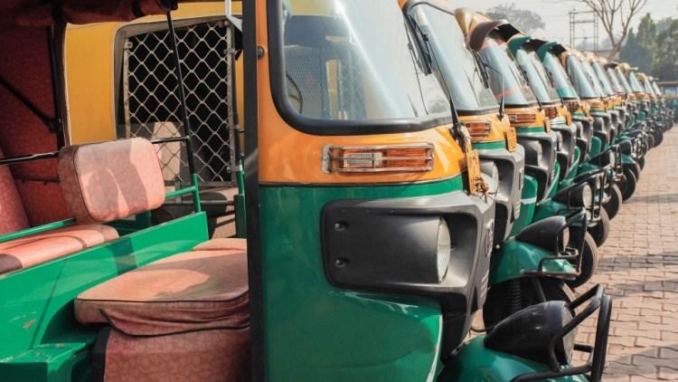 Rickshaws parked in a row