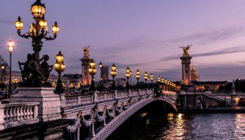 Beautiful bridge over water in Paris