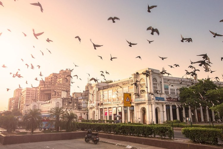Connaught Place, New Delhi, India during the early morning.