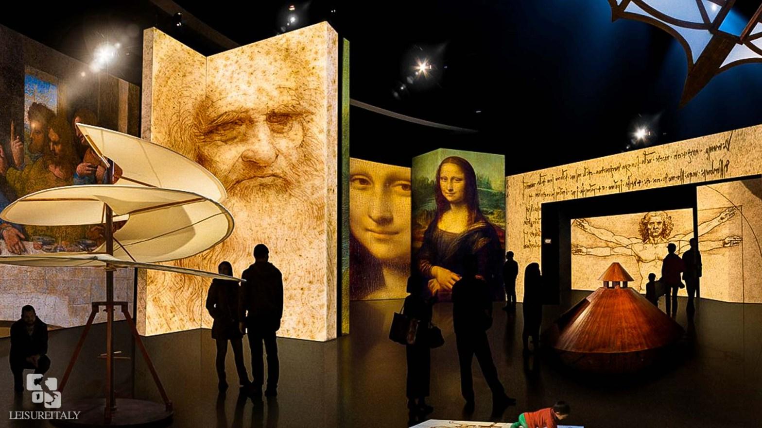 People viewing art at the Da Vinci museum