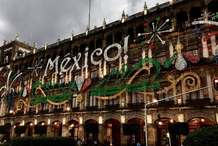 Mexico written in lights on a building in the city