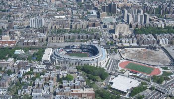 Aerial shot of Bronx with Yankee stadium in the centre