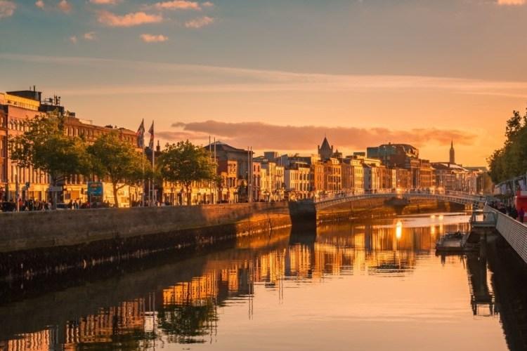 Golden hour view of Dublin city centre