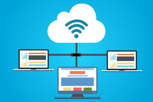 An image showing computers which are connected to each other and the cloud, to go with our post about hosts.