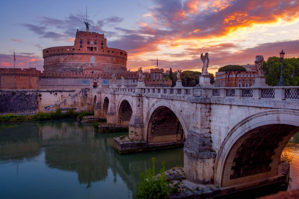 Castel Sant'Angelo overlooking the River Tiber in Rome