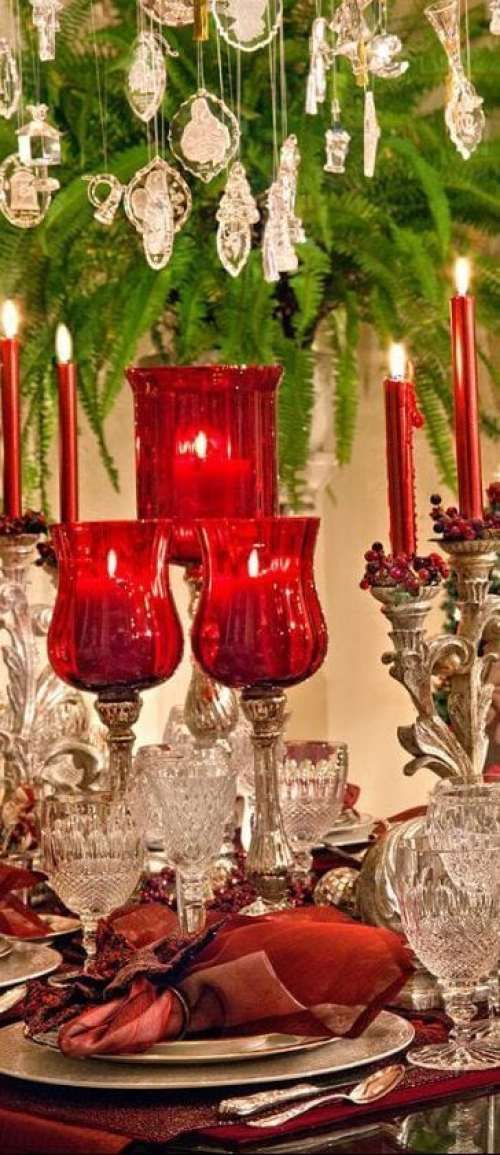 Taca vermelha mesa natal