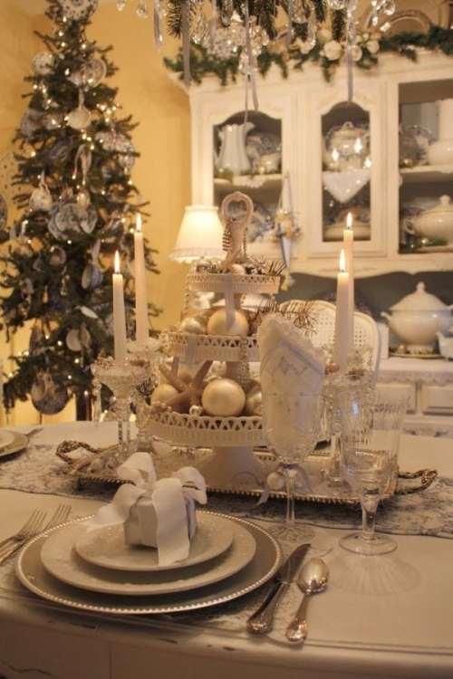 decoracao mesa natal prata