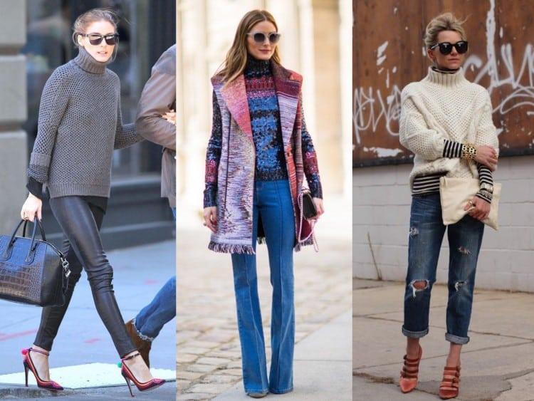 Look usando gola alta com jeans e calca de couro