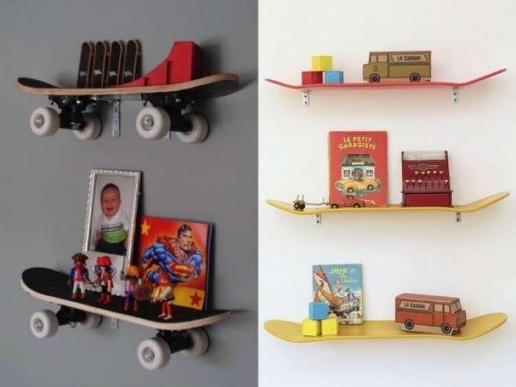a melhor escolha_use skate como prateleira em quartos