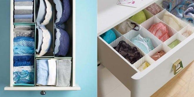 post com dicas de como arrumar a organizar a gaveta de lingeries