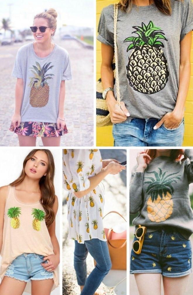 Inspirações de look com estampa tropical floral e frutal