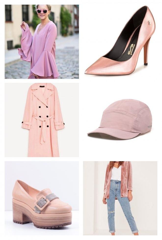 Inspiração de looks fashion e acessórios usando a cor rosa do momento Millennial Pink