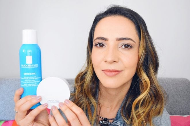 Resenha de produtos cosméticos para pele oleosa e mista: um pó compacto e um spray da La Roche Posay