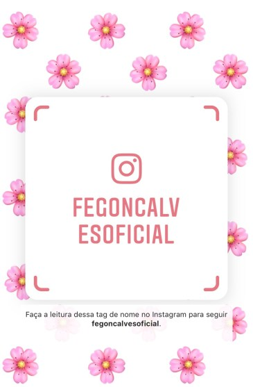 Nametag Instagram Fe Gonçalves. Siga e acompanhe as dicas práticas de moda, beleza e lifestyle!