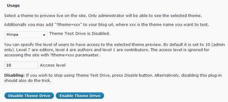 Opciones del Theme test drive