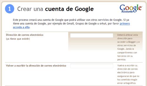Crea una cuenta en Google