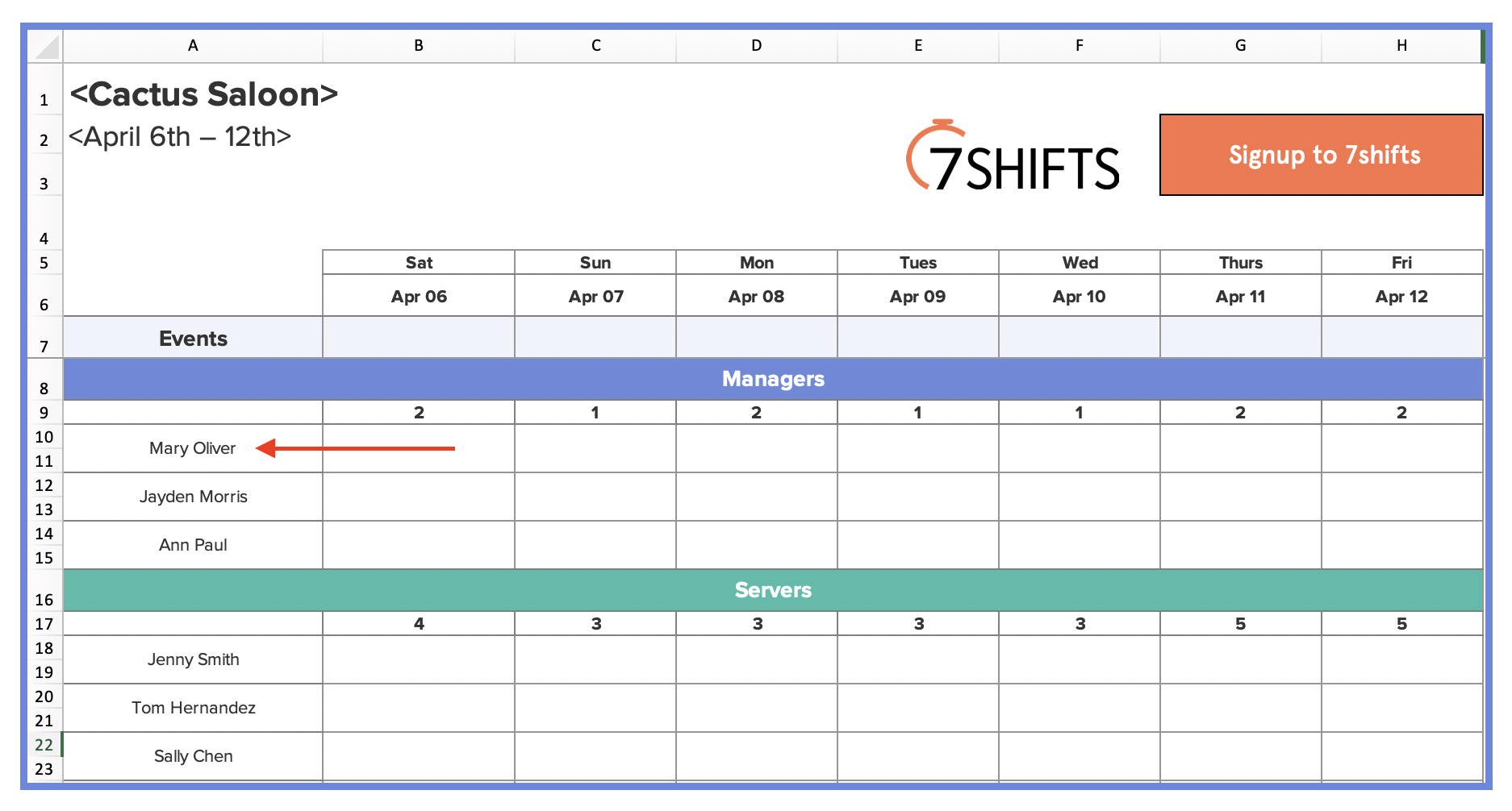 """Click """"file,"""" then """"make a copy."""" you must be signed in to a google account. How To Make A Restaurant Work Schedule With Free Excel Template 7shifts"""