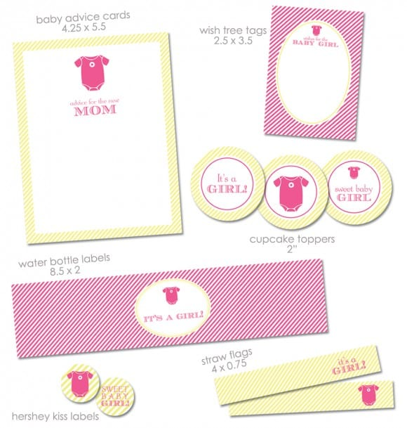 baby shower printables for a baby girl via Mandy's Party Printables