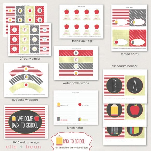 Pencils and apples back to school party printables via Mandy's Party Printables