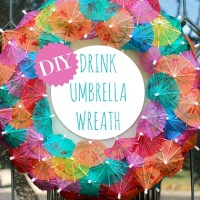 Sunshine Party Ideas, a Drink Umbrella Wreath DIY, and