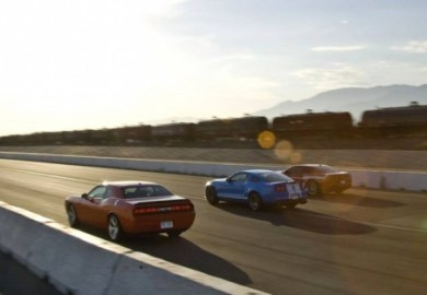 Camaro Ss And Dodge Challenger Srt8 On A Track In Great Britain To