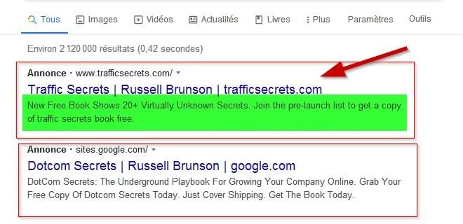 annonce Google pour ramener du trafic vers un tunnel de vente