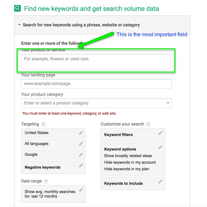 enter keyword to keyword planner tool