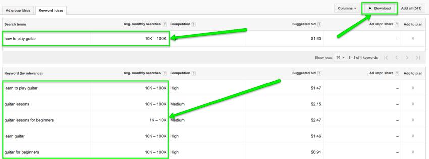 keywords ideas keyword planner