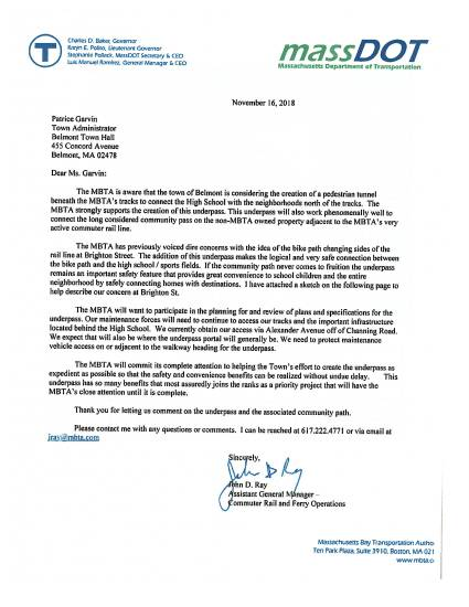 MassDOT letter to Belmont re: Community Path