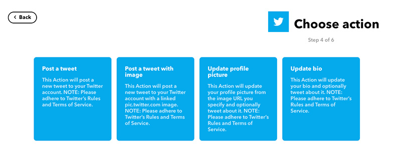 choose the action service on IFTTT