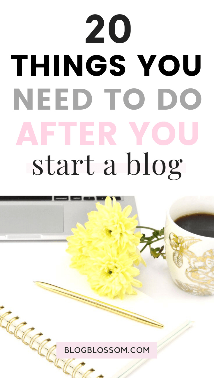 Feeling lost & unsure of what to do after starting a blog? Here is a checklist of 20 things you need to do right after you start a blog so you can start making passive income. | make money online | work from home | social media marketing | blogging resources | blogging tools | blog design | seo | wordpress | wordpress themes | blog traffic | wordpress plugins | affiliate marketing #bloggingtips #startablog #blogging #makemoneyonline #blogtraffic #blogtips #socialmediamarketing #sidehustle