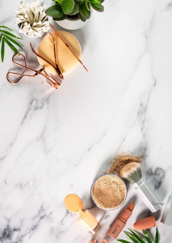 White Marble Vinyl Photography Backdrop for Flatlays