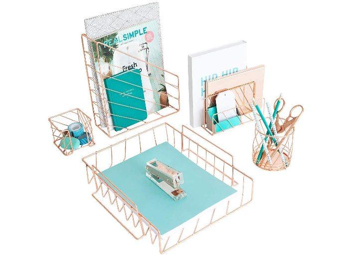Rose Gold 5-Piece Diagonal Desk Organizer Set