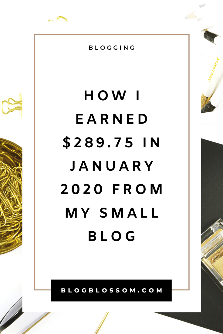 In my January 2020 income report, I'll show you how I earned $289.75 from my small blog in just one month. | blogging traffic | skyrocket your traffic | blog income report | blog traffic report | affiliate marketing | earn money online | make money online | money making tips | make money blogging | tailwind | pinterest tips | social media marketing | ad revenue | blogging tools | blogging tips | blog tips | start a blog | work from home | side hustles