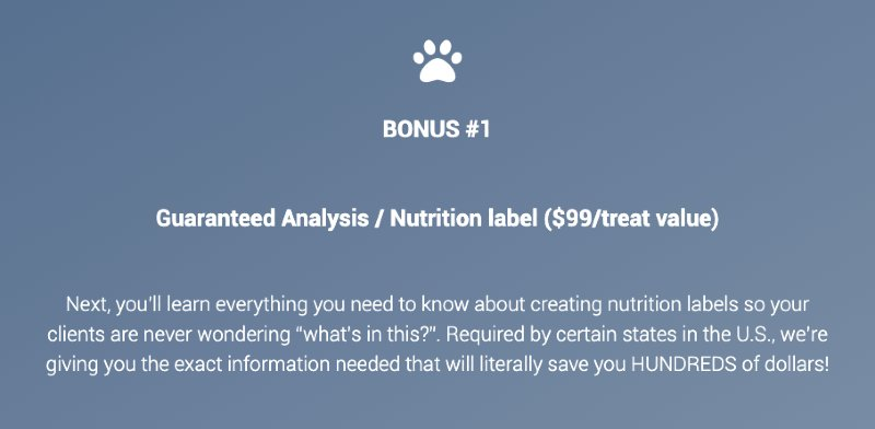 Diva Dog Bakery Course Bonus - Guaranteed Analysis and Nutrition Label