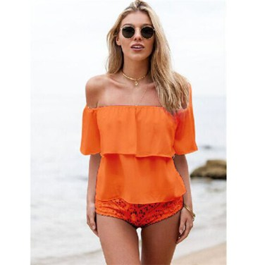Free-Shipping-2015-Summer-New-Fashion-Women-Chiffon-Blouse-Short-sleeve-Off-Shoulder-loose-Top-S