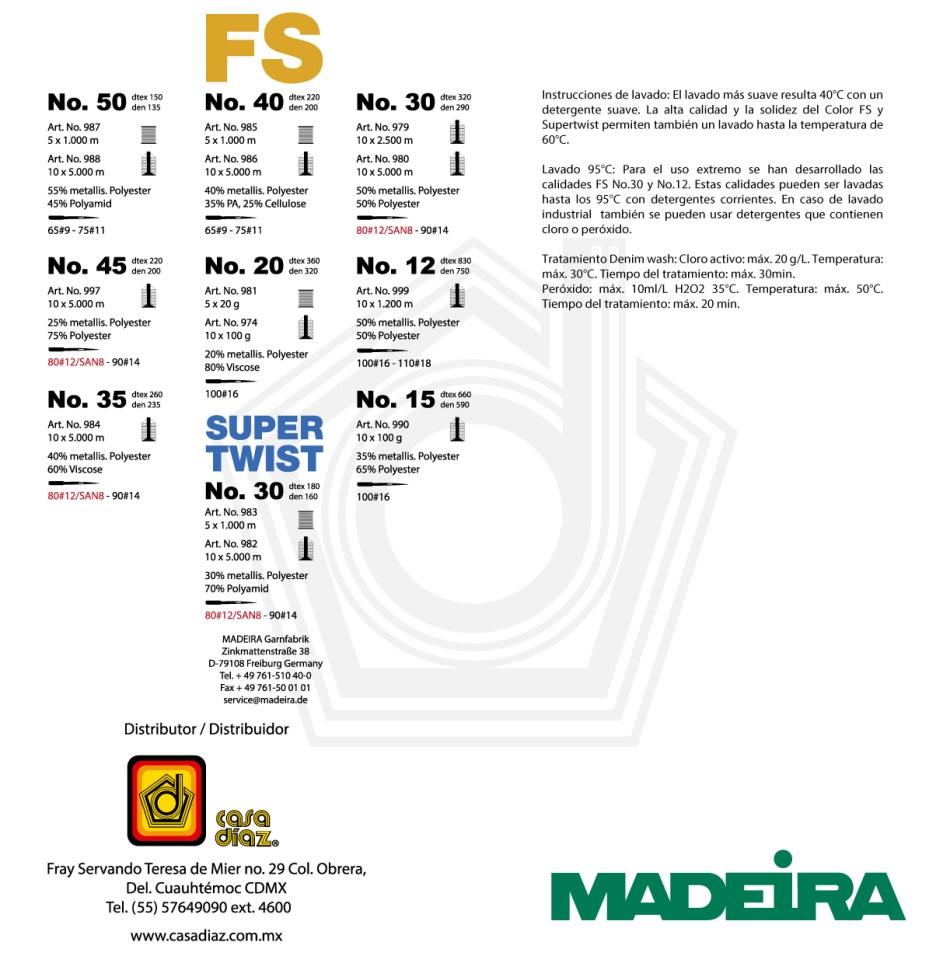 Carta de colores FS Supertwist