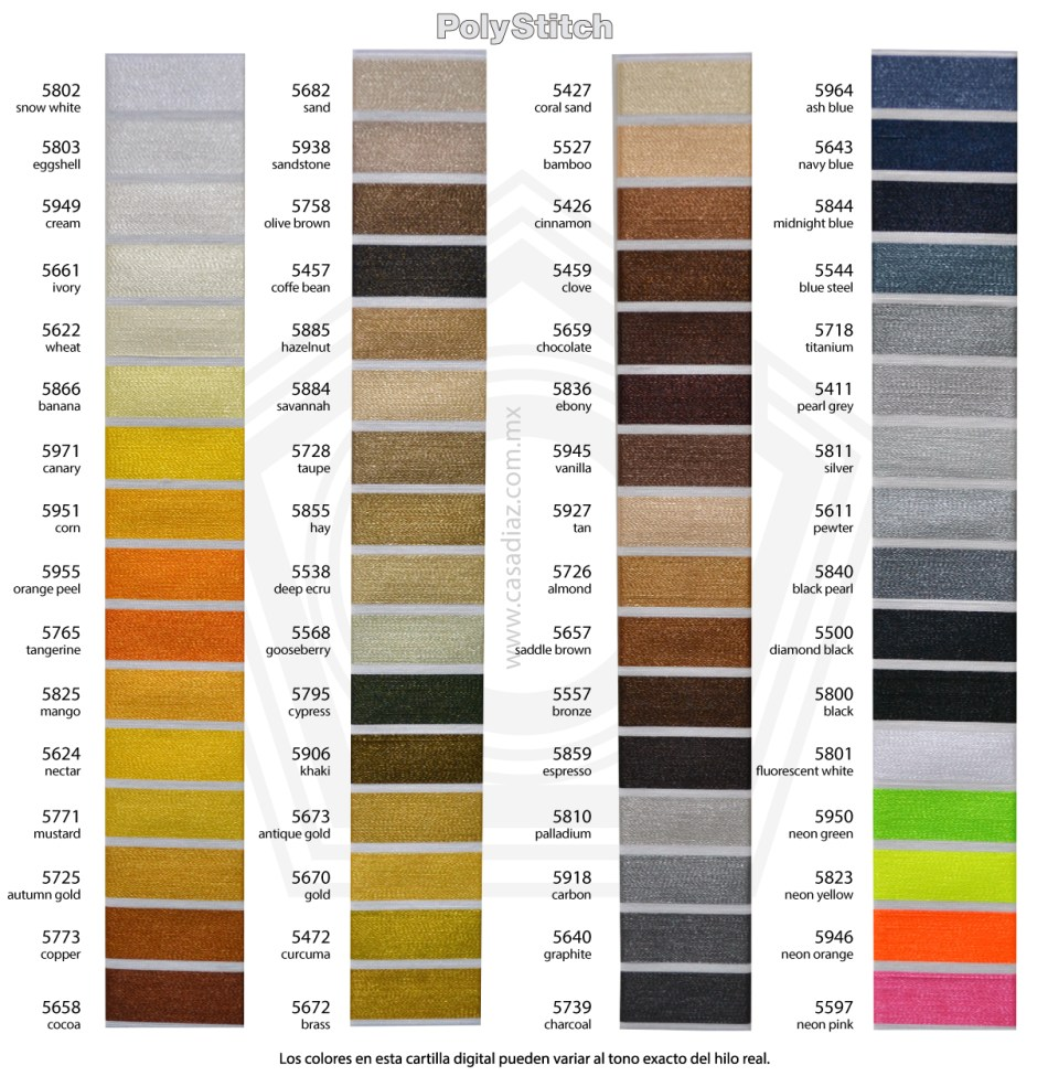 Carta Colores Polystitch