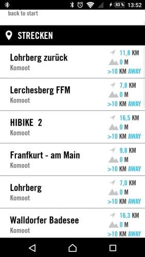 Elemnt Streckenplanung - per Knopfdruck sind alle Komoot-Touren verfügbar