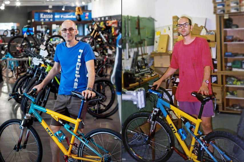 Vorher (1995) und Nachher (2019) Rainer im HIBIKE Laden mit dem Yeti ARC LT - kaum verändert :)