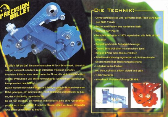 Precision Billet Schaltwerk - Flyer von 1995