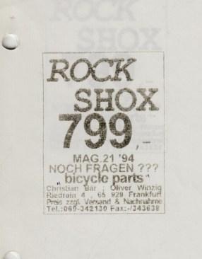 Rock Shox Mag 21: die aller erste Anzeige, erschienen im BIKE-Magazin