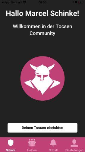 Die App mit verbundenem Sensor
