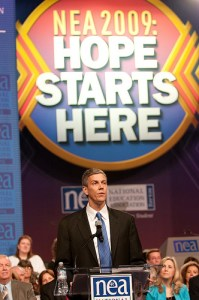 Education Secretary Arne Duncan address the 2009 NEA Representative Assembly.