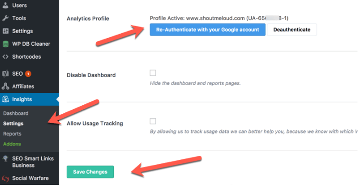Track Number of Visitors Coming to your site plugin settings