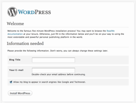 Install WordPress on Local Hosting install wordpress