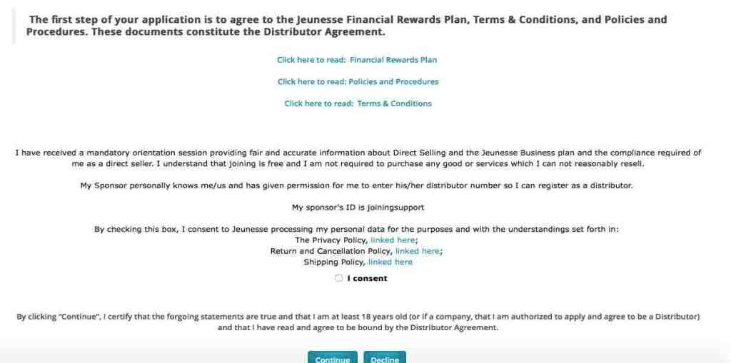 join jeunesse in malaysia consent checkbox
