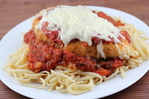 chicken marinara is breaded baked breasts topped with