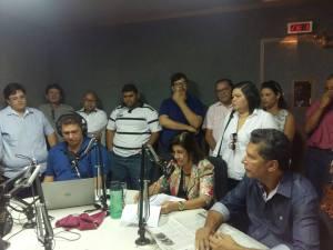 Prefeita Maria Eunice concedendo entrevista na Rádio Correio do Vale FM e Explanando os problemas encontrados