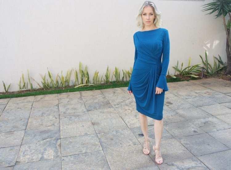 vestido azul-petróleo drapeado alphorria